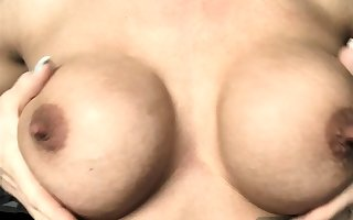 Milf concerning chunky nipples with an increment of lactating breast