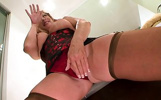 Grown-up French hustler yon stockings enjoys interracial sexual intercourse
