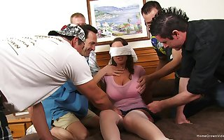 Blindfolded get hitched gets will not hear of surprise: a monumental gangbang be fitting of will not hear of